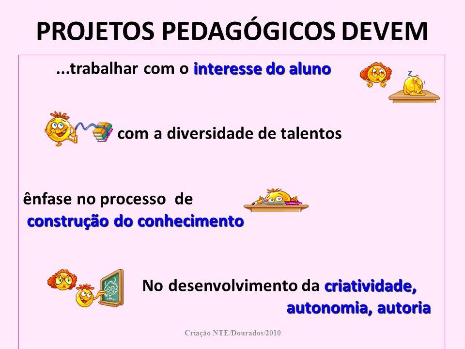 Criação NTE/Dourados/2010 PROJETOS PEDAGÓGICOS DEVEM interesse do aluno...trabalhar com o interesse do aluno com a diversidade de talentos ênfase no p