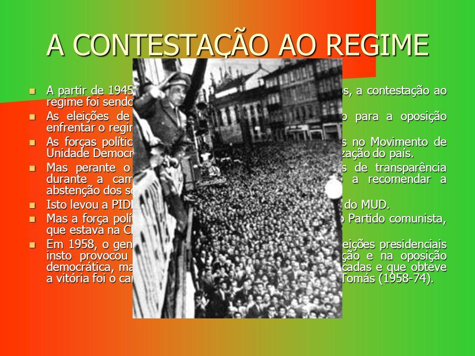 A CONTESTAÇÃO AO REGIME A partir de 1945, com a derrota dos regimes autoritários, a contestação ao regime foi sendo maior, assim como a repressão. A p