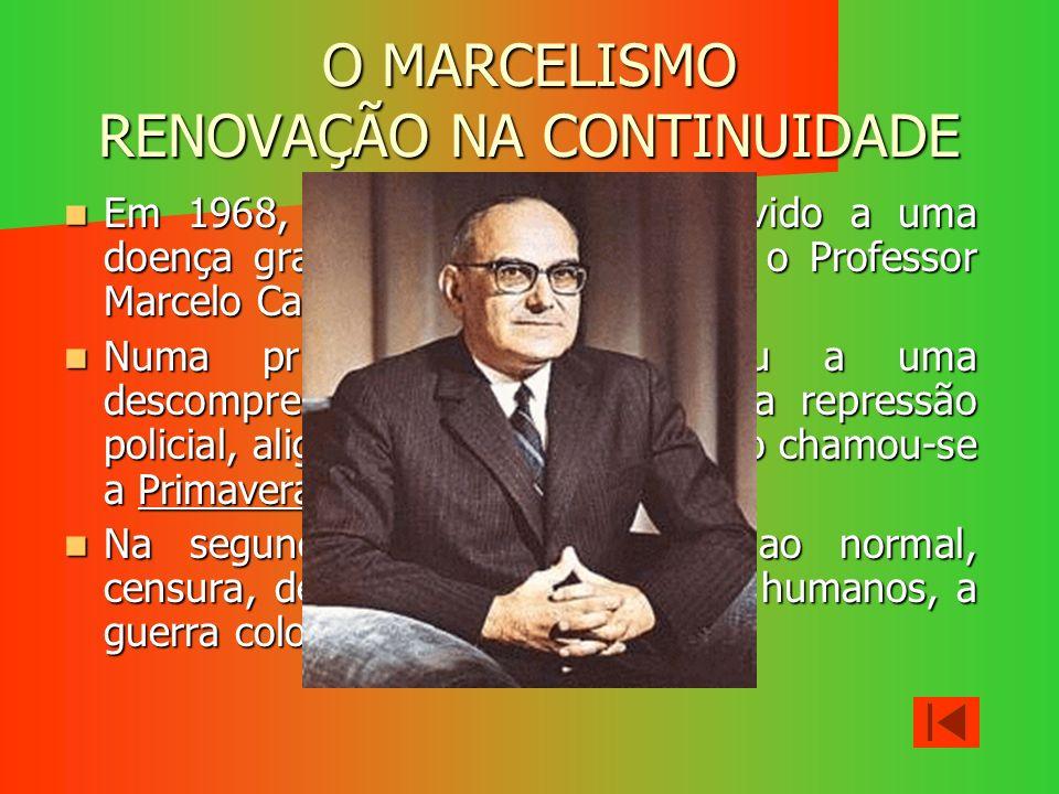 O MARCELISMO RENOVAÇÃO NA CONTINUIDADE Em 1968, Salazar é afastado devido a uma doença grave, quem o substitui é o Professor Marcelo Caetano. Em 1968,