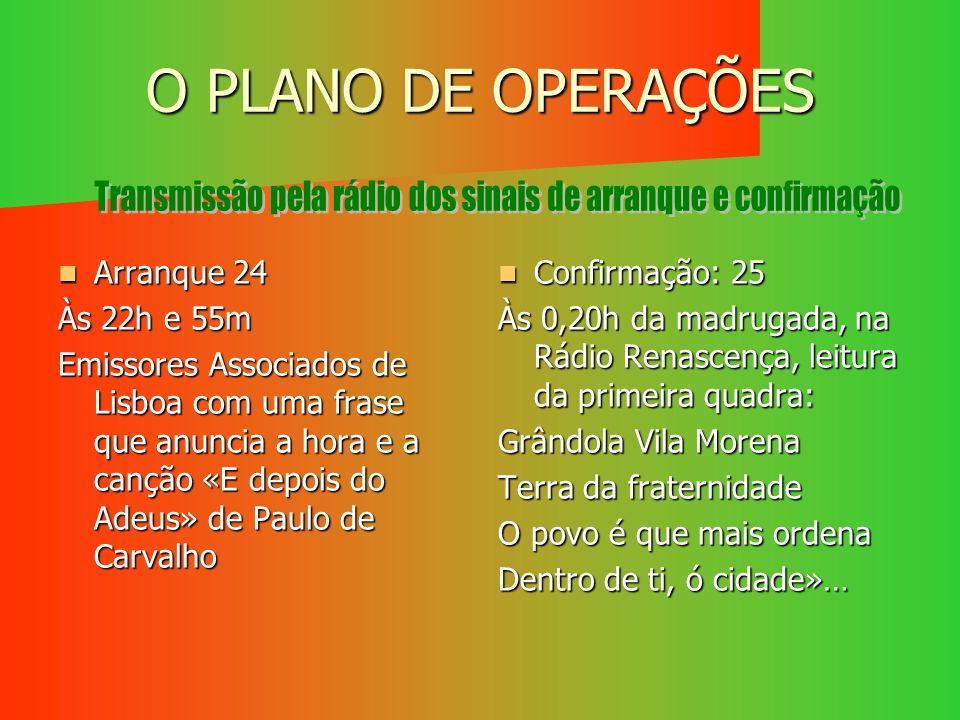 O PLANO DE OPERAÇÕES Arranque 24 Arranque 24 Às 22h e 55m Emissores Associados de Lisboa com uma frase que anuncia a hora e a canção «E depois do Adeu