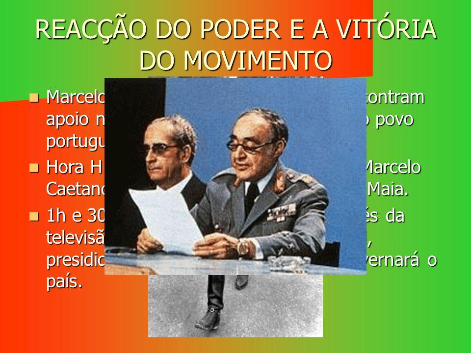 REACÇÃO DO PODER E A VITÓRIA DO MOVIMENTO Marcelo Caetano e os ministros não encontram apoio nas forças fiéis ao regime nem no povo português. Marcelo