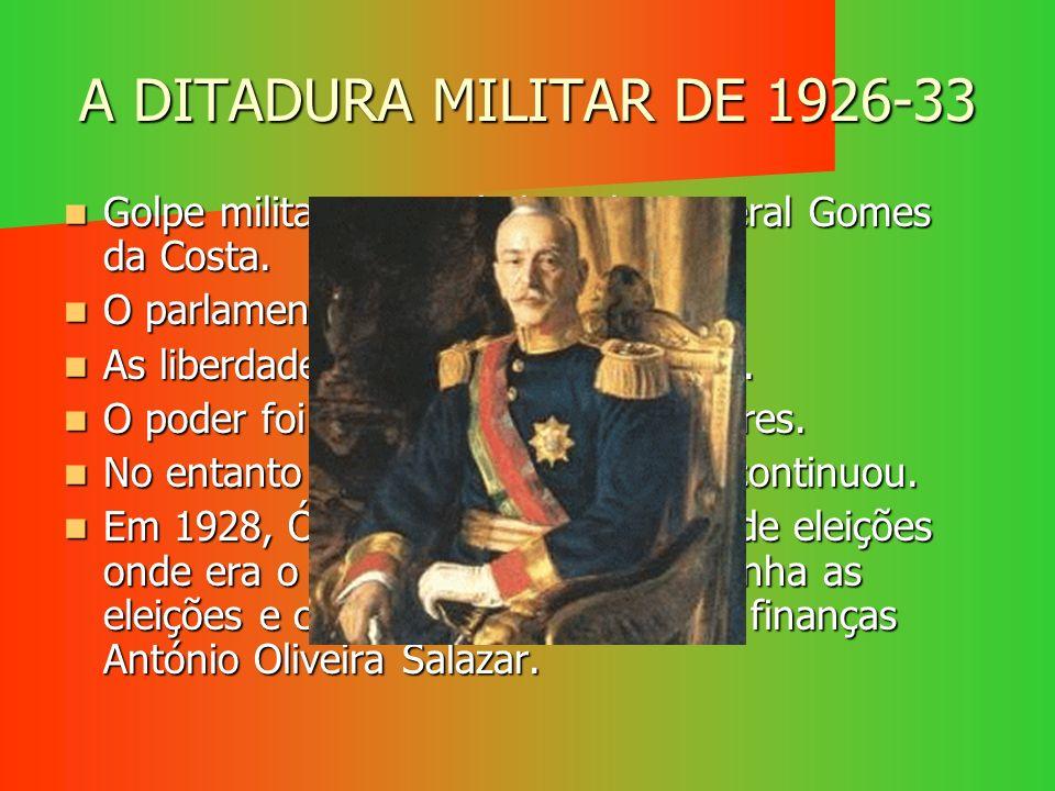 A DITADURA MILITAR DE 1926-33 Golpe militar comandado pelo General Gomes da Costa. Golpe militar comandado pelo General Gomes da Costa. O parlamento f