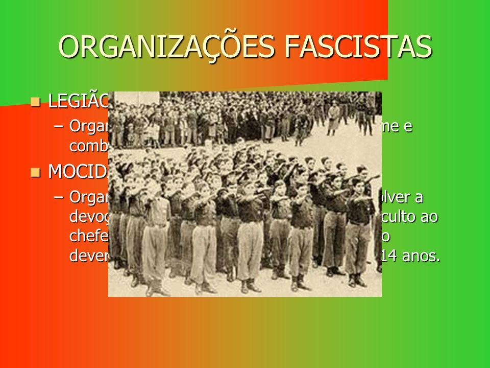 ORGANIZAÇÕES FASCISTAS LEGIÃO PORTUGUESA LEGIÃO PORTUGUESA –Organizada e armada para defender o regime e combater o comunismo. MOCIDADE PORTUGUESA MOC