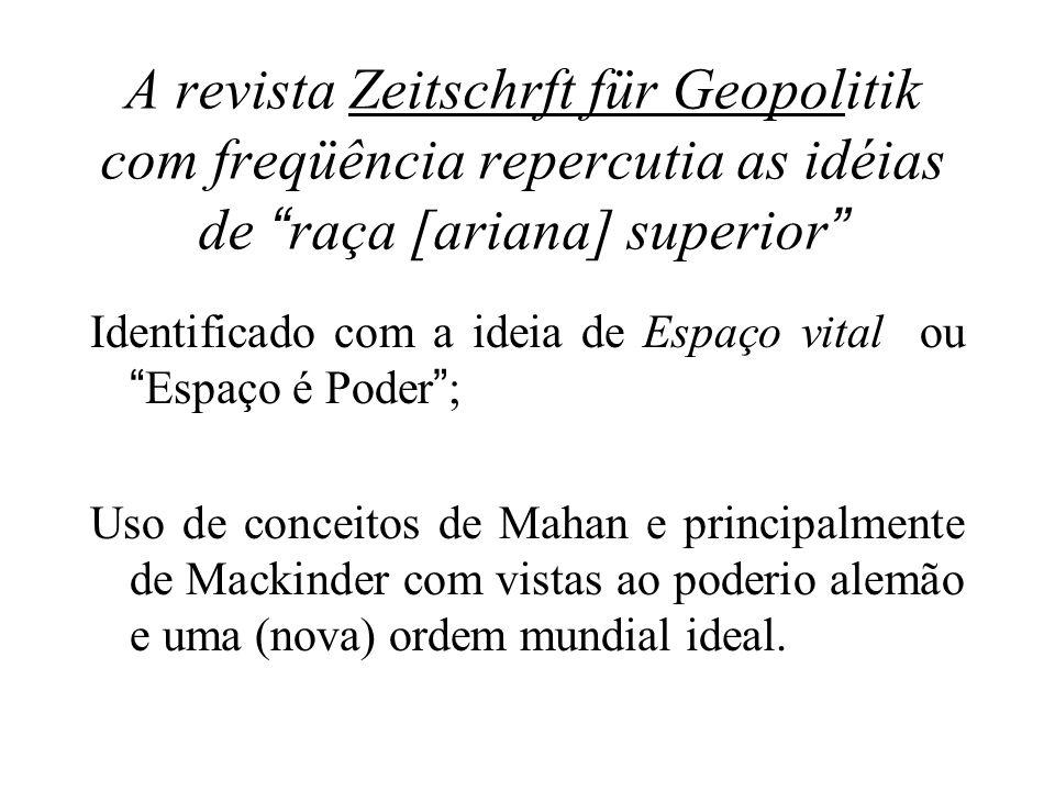 A revista Zeitschrft für Geopolitik com freqüência repercutia as idéias de raça [ariana] superior Identificado com a ideia de Espaço vital ouEspaço é
