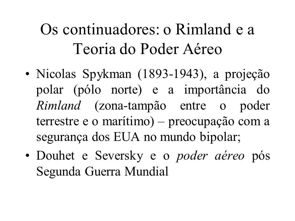 Os continuadores: o Rimland e a Teoria do Poder Aéreo Nicolas Spykman (1893-1943), a projeção polar (pólo norte) e a importância do Rimland (zona-tamp