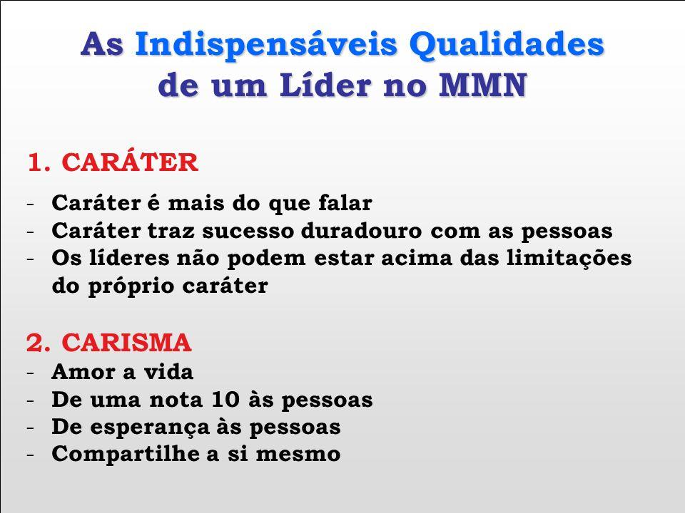 As Indispensáveis Qualidades de um Líder no MMN 1. CARÁTER - Caráter é mais do que falar - Caráter traz sucesso duradouro com as pessoas - Os líderes