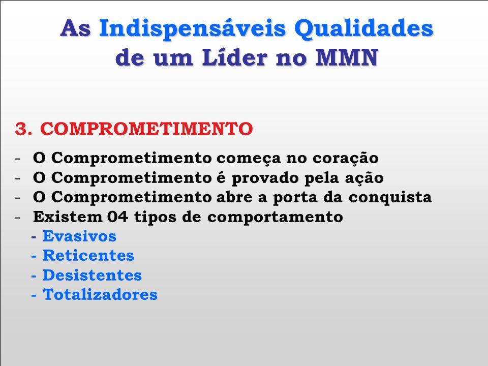As Indispensáveis Qualidades de um Líder no MMN 3. COMPROMETIMENTO - O Comprometimento começa no coração - O Comprometimento é provado pela ação - O C
