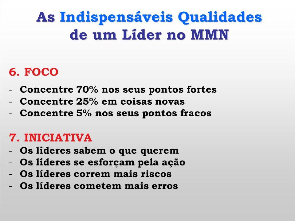 As Indispensáveis Qualidades de um Líder no MMN 6. FOCO - Concentre 70% nos seus pontos fortes - Concentre 25% em coisas novas - Concentre 5% nos seus