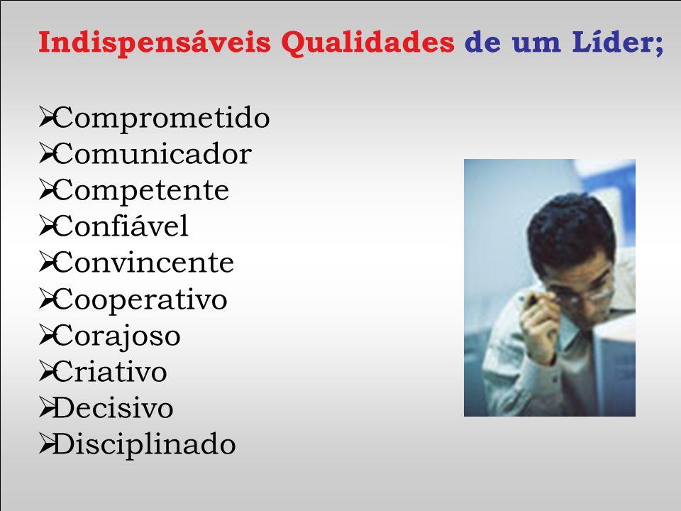 Comprometido Comunicador Competente Confiável Convincente Cooperativo Corajoso Criativo Decisivo Disciplinado Indispensáveis Qualidades de um Líder;