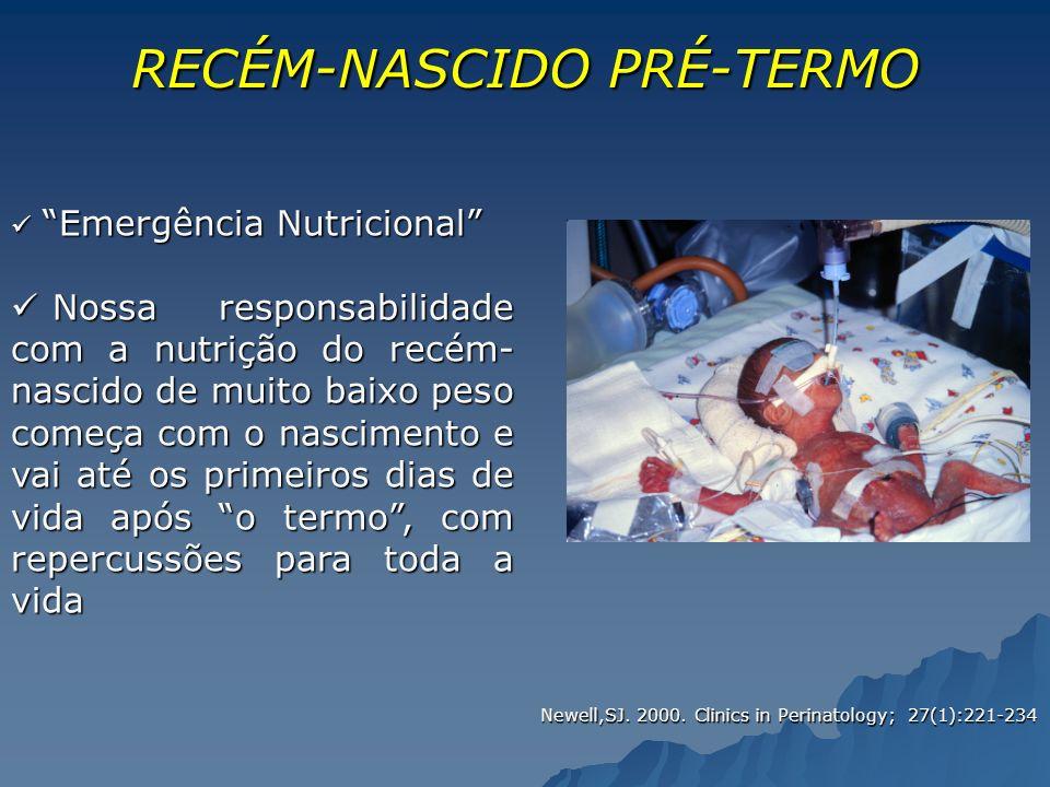 RECÉM-NASCIDOPRÉ-TERMO RECÉM-NASCIDO PRÉ-TERMO ü Emergência Nutricional ü Nossa responsabilidade com a nutrição do recém- nascido de muito baixo peso