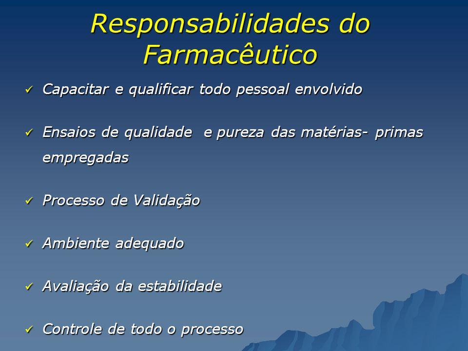 Responsabilidades do Farmacêutico Capacitar e qualificar todo pessoal envolvido Capacitar e qualificar todo pessoal envolvido Ensaios de qualidade e p