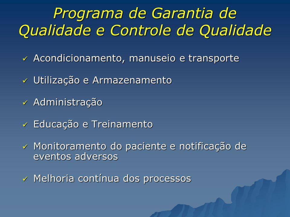 Programa de Garantia de Qualidade e Controle de Qualidade Acondicionamento, manuseio e transporte Acondicionamento, manuseio e transporte Utilização e