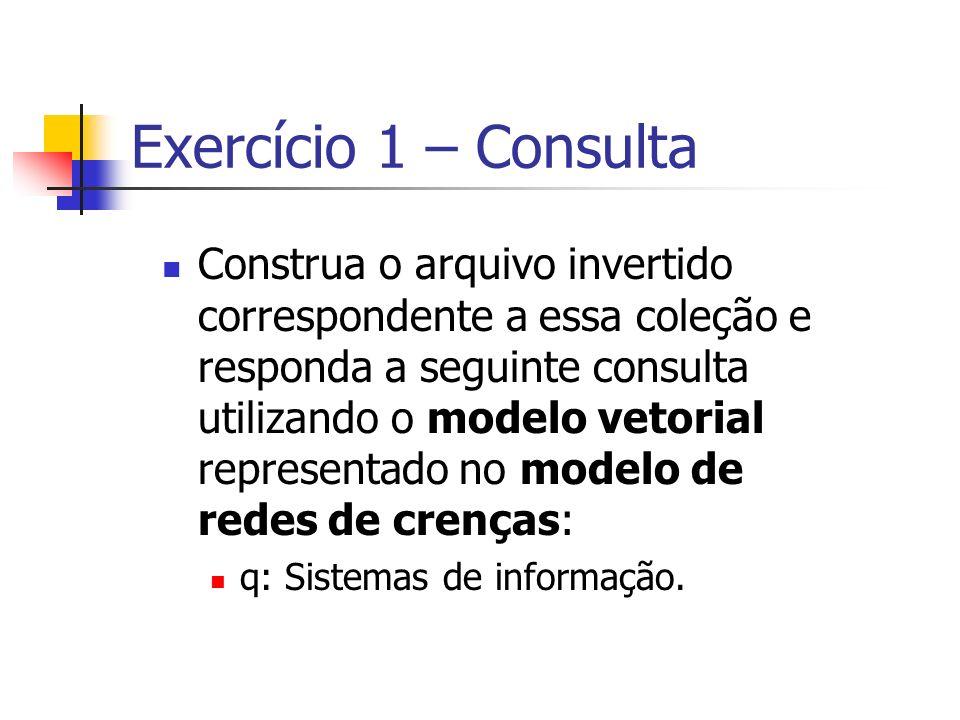 Exercício 1 – Consulta Construa o arquivo invertido correspondente a essa coleção e responda a seguinte consulta utilizando o modelo vetorial represen