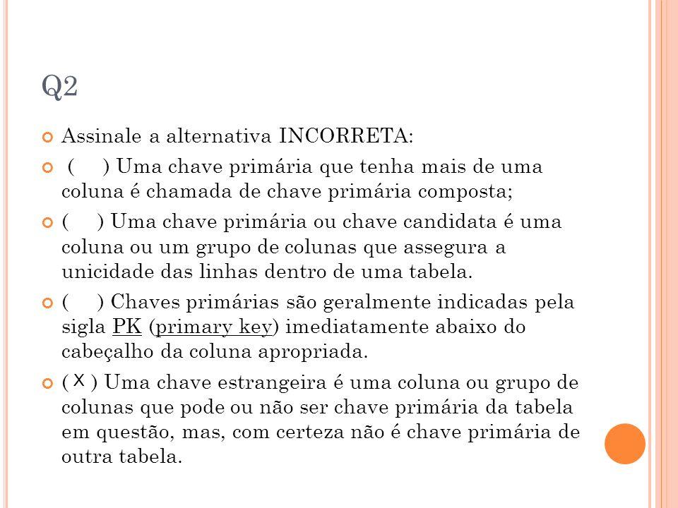 Q2 Assinale a alternativa INCORRETA: ( ) Uma chave primária que tenha mais de uma coluna é chamada de chave primária composta; ( ) Uma chave primária