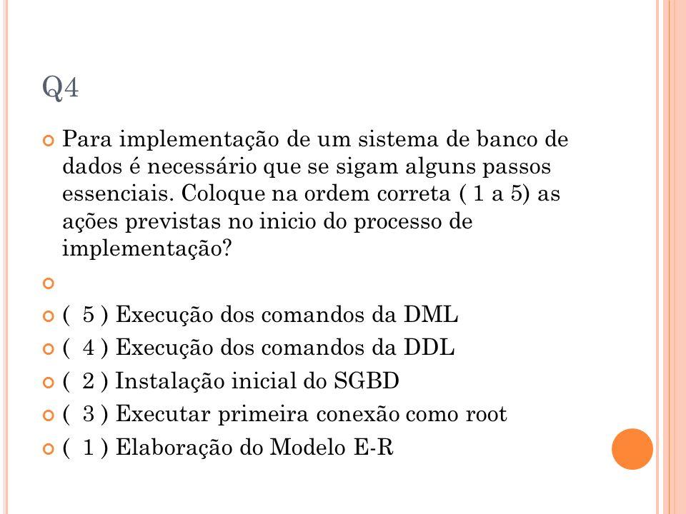 Q4 Para implementação de um sistema de banco de dados é necessário que se sigam alguns passos essenciais. Coloque na ordem correta ( 1 a 5) as ações p