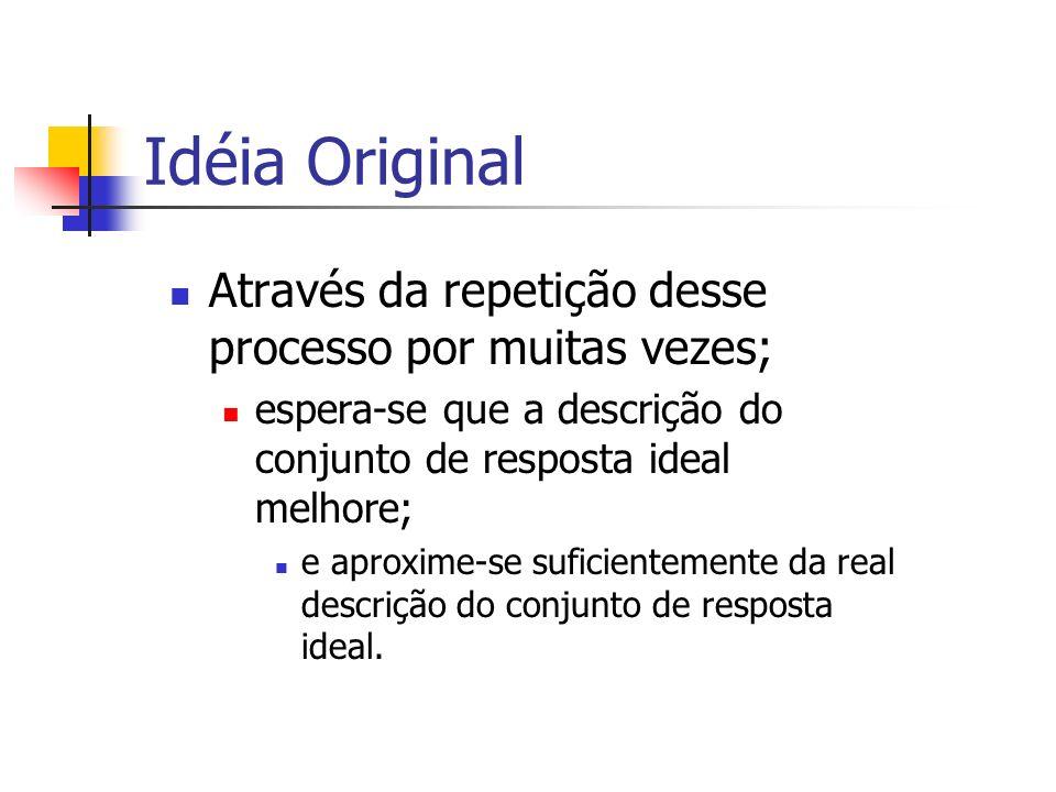 Idéia Original Através da repetição desse processo por muitas vezes; espera-se que a descrição do conjunto de resposta ideal melhore; e aproxime-se su