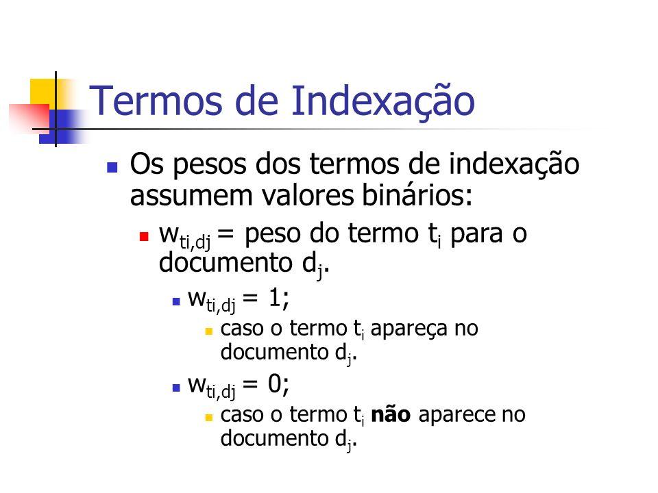 Termos de Indexação Os pesos dos termos de indexação assumem valores binários: w ti,dj = peso do termo t i para o documento d j. w ti,dj = 1; caso o t