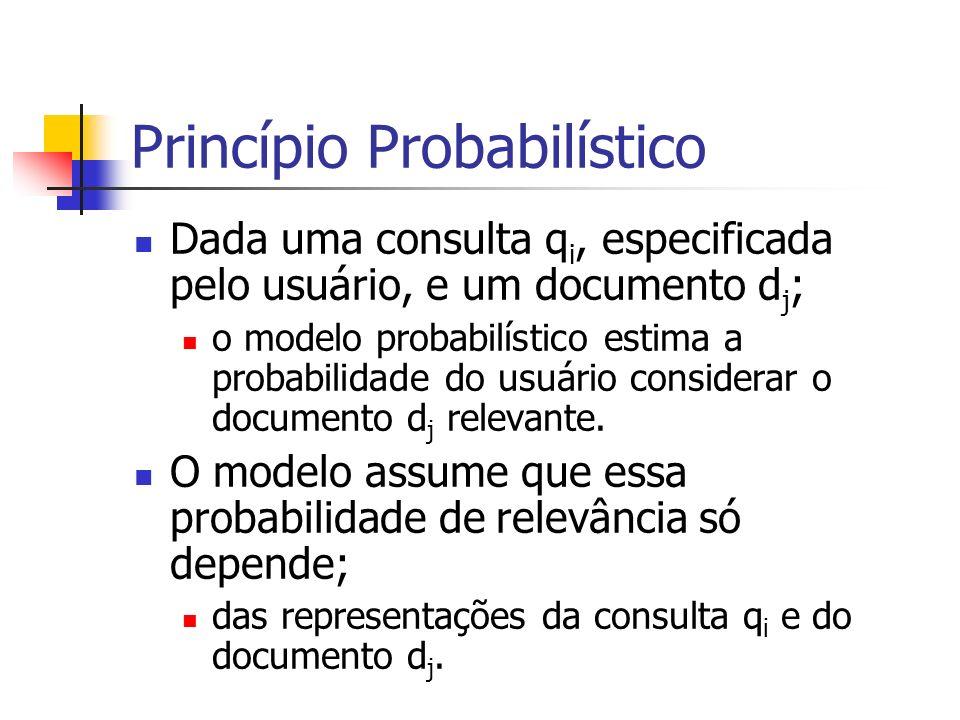 Dada uma consulta q i, especificada pelo usuário, e um documento d j ; o modelo probabilístico estima a probabilidade do usuário considerar o document