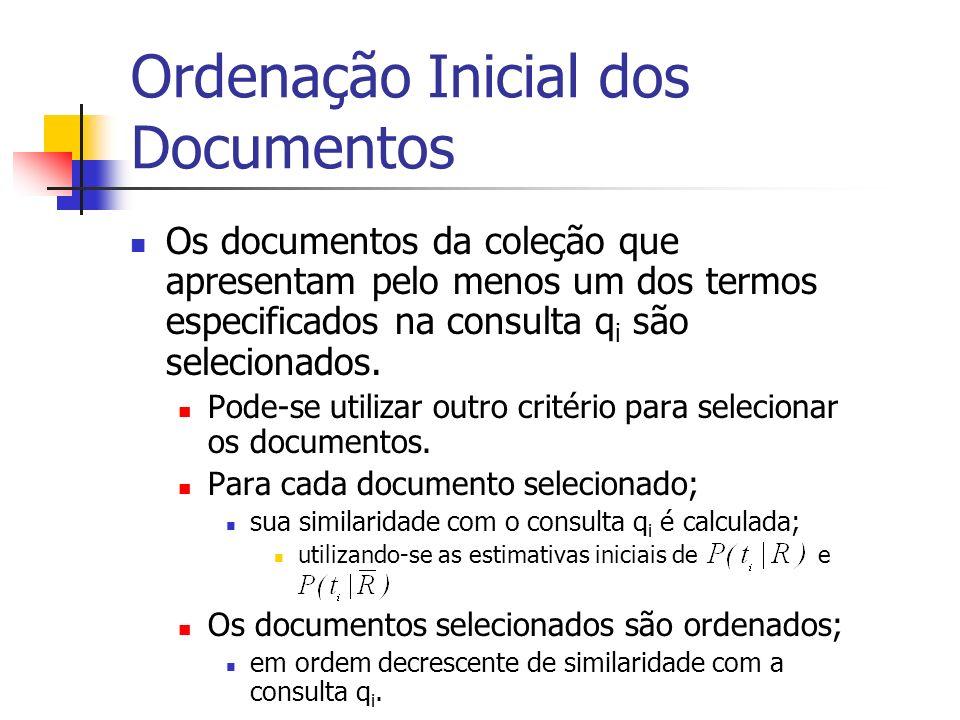 Ordenação Inicial dos Documentos Os documentos da coleção que apresentam pelo menos um dos termos especificados na consulta q i são selecionados. Pode