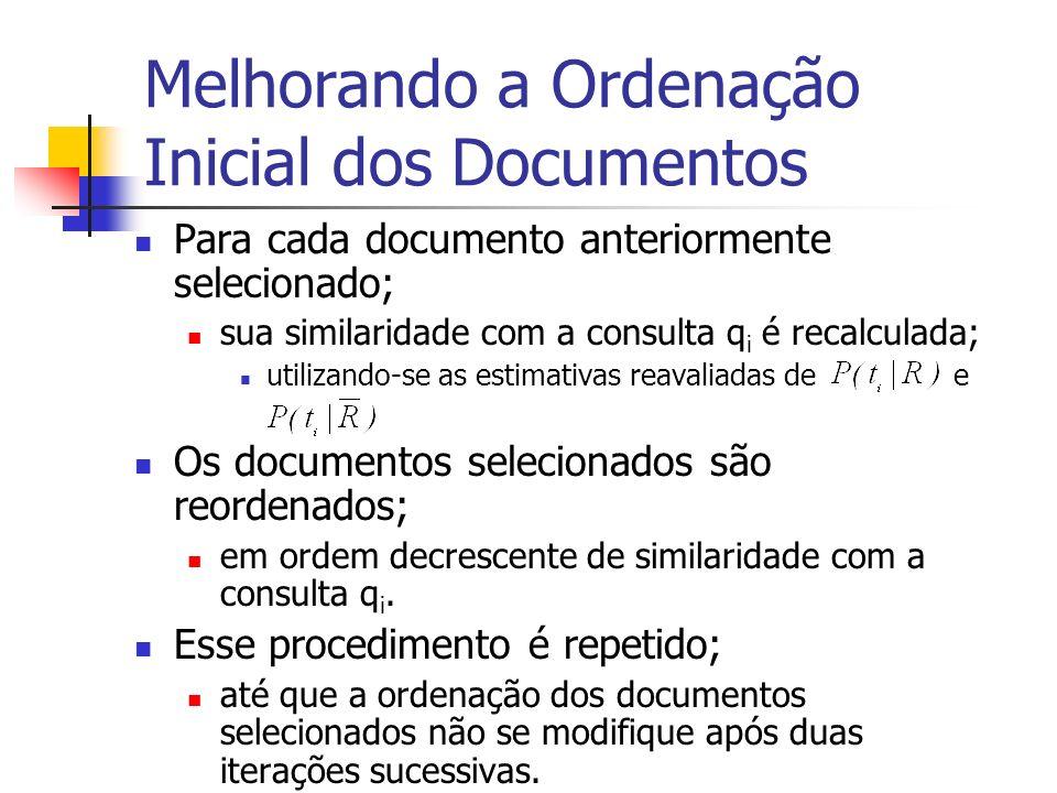 Melhorando a Ordenação Inicial dos Documentos Para cada documento anteriormente selecionado; sua similaridade com a consulta q i é recalculada; utiliz