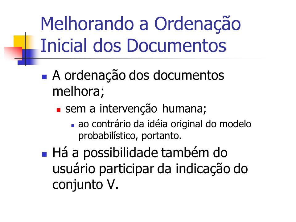 Melhorando a Ordenação Inicial dos Documentos A ordenação dos documentos melhora; sem a intervenção humana; ao contrário da idéia original do modelo p