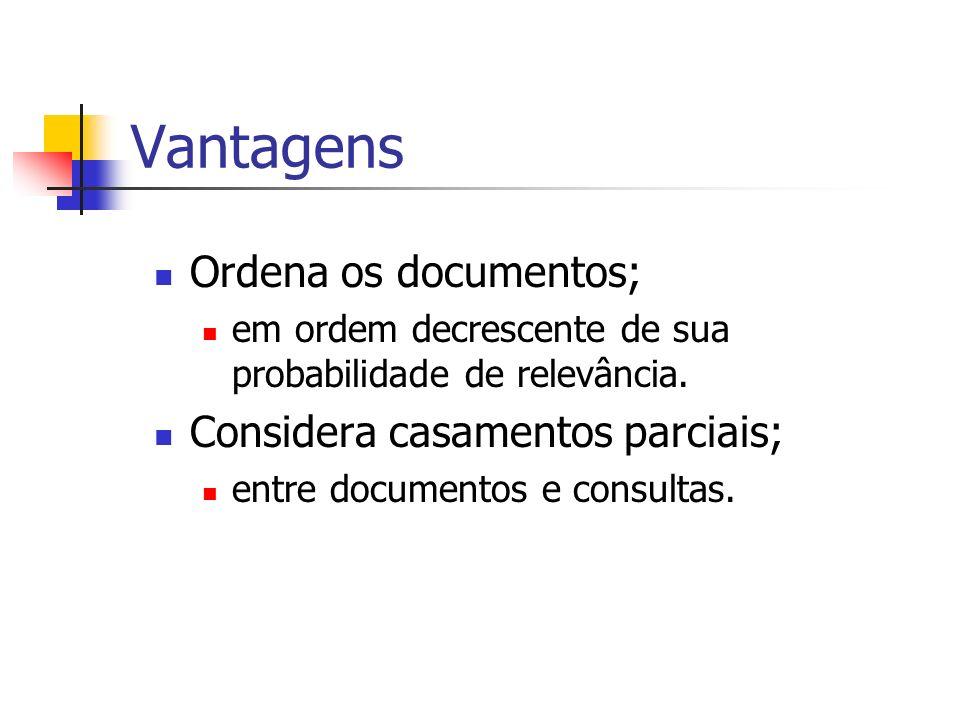 Vantagens Ordena os documentos; em ordem decrescente de sua probabilidade de relevância. Considera casamentos parciais; entre documentos e consultas.