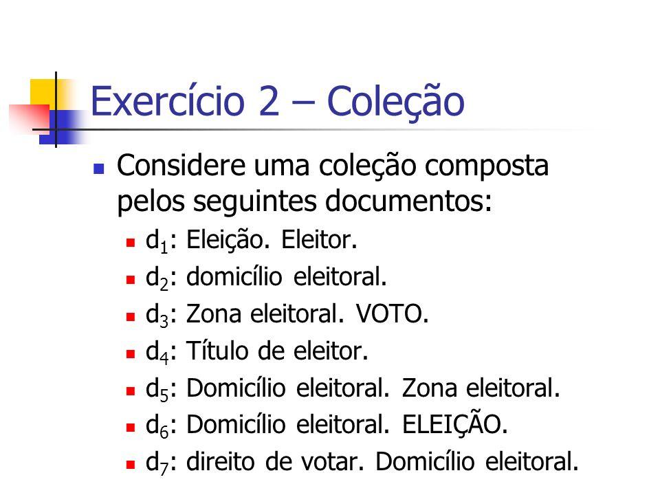 Exercício 2 – Coleção Considere uma coleção composta pelos seguintes documentos: d 1 : Eleição. Eleitor. d 2 : domicílio eleitoral. d 3 : Zona eleitor