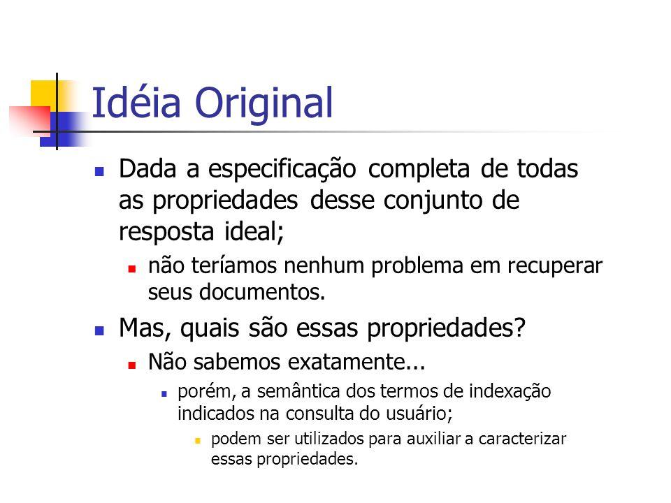 Idéia Original Dada a especificação completa de todas as propriedades desse conjunto de resposta ideal; não teríamos nenhum problema em recuperar seus
