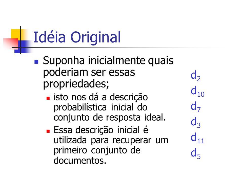 Idéia Original Suponha inicialmente quais poderiam ser essas propriedades; isto nos dá a descrição probabilística inicial do conjunto de resposta idea