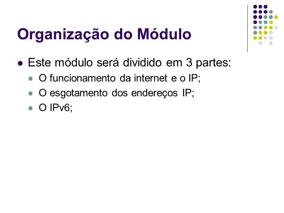 Organização do Módulo Este módulo será dividido em 3 partes: O funcionamento da internet e o IP; O esgotamento dos endereços IP; O IPv6;