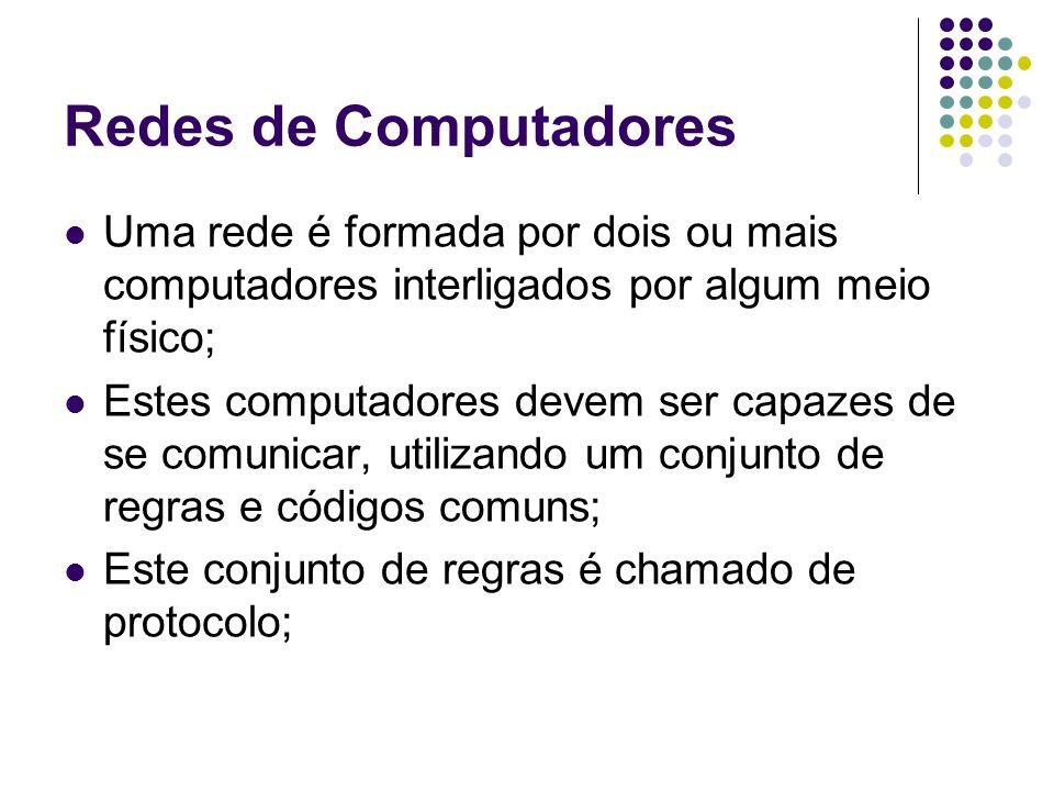 Redes de Computadores Uma rede é formada por dois ou mais computadores interligados por algum meio físico; Estes computadores devem ser capazes de se