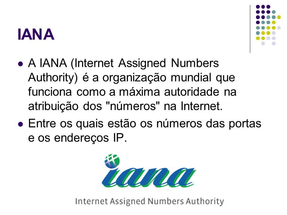 IANA A IANA (Internet Assigned Numbers Authority) é a organização mundial que funciona como a máxima autoridade na atribuição dos