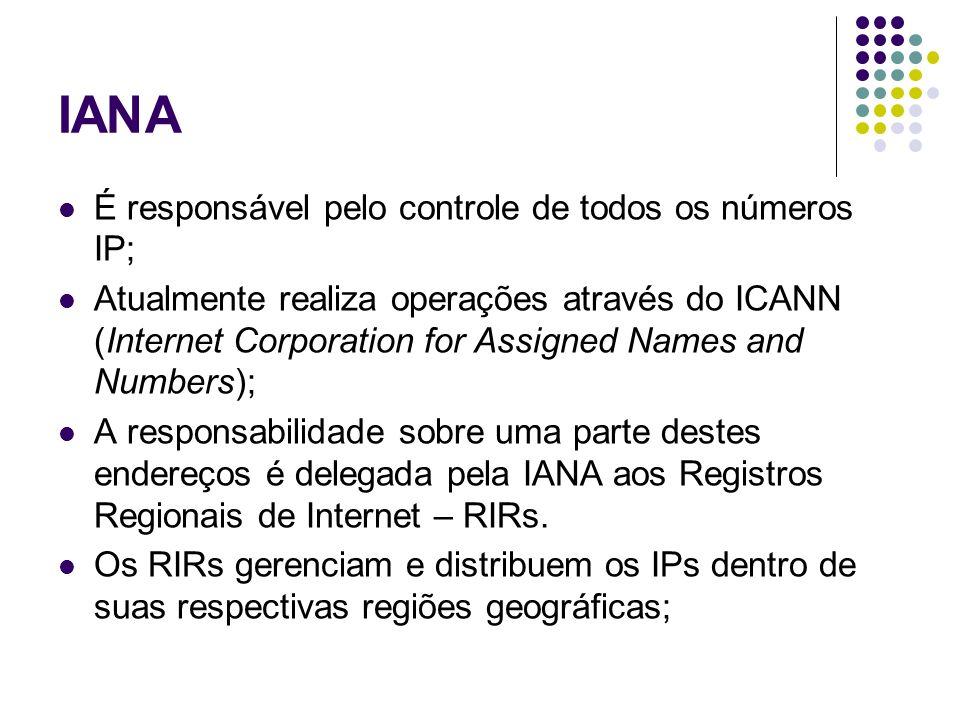 IANA É responsável pelo controle de todos os números IP; Atualmente realiza operações através do ICANN (Internet Corporation for Assigned Names and Nu