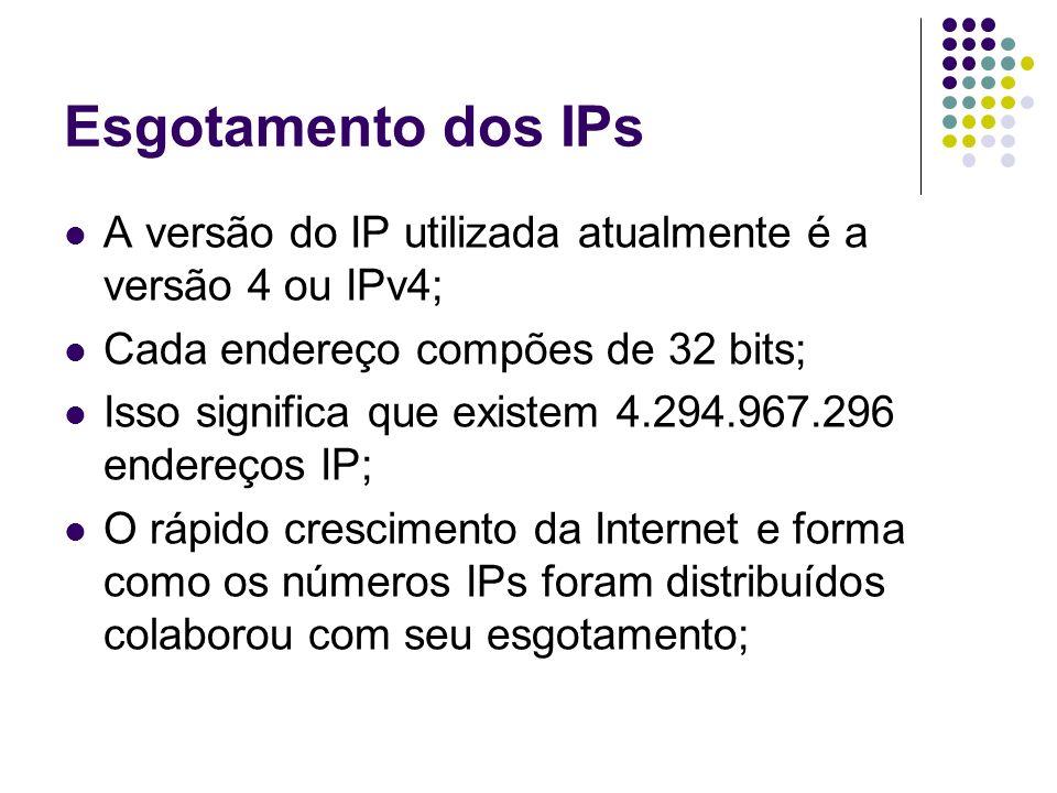 Esgotamento dos IPs A versão do IP utilizada atualmente é a versão 4 ou IPv4; Cada endereço compões de 32 bits; Isso significa que existem 4.294.967.2