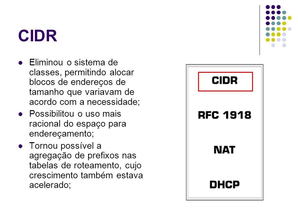 CIDR Eliminou o sistema de classes, permitindo alocar blocos de endereços de tamanho que variavam de acordo com a necessidade; Possibilitou o uso mais