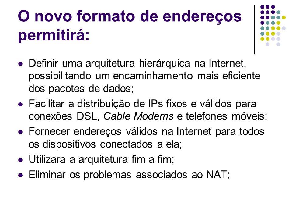 O novo formato de endereços permitirá: Definir uma arquitetura hierárquica na Internet, possibilitando um encaminhamento mais eficiente dos pacotes de