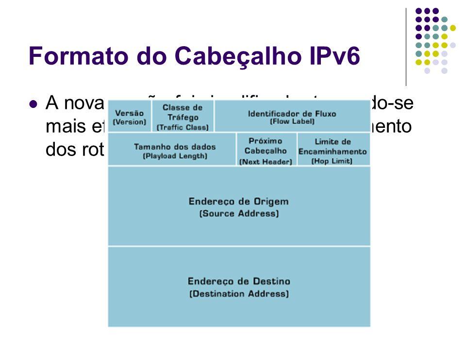 Formato do Cabeçalho IPv6 A nova versão foi simplificada, tornando-se mais eficiente, reduzindo o processamento dos roteadores;