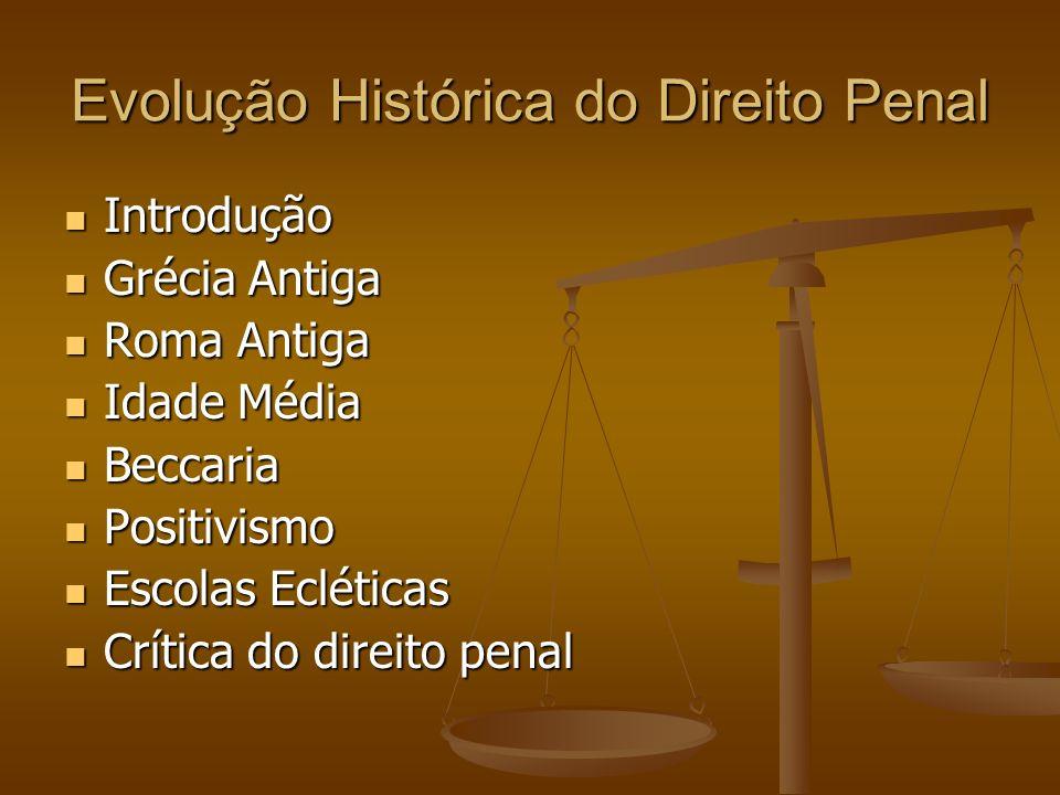 Evolução Histórica do Direito Penal Introdução Introdução Grécia Antiga Grécia Antiga Roma Antiga Roma Antiga Idade Média Idade Média Beccaria Beccari