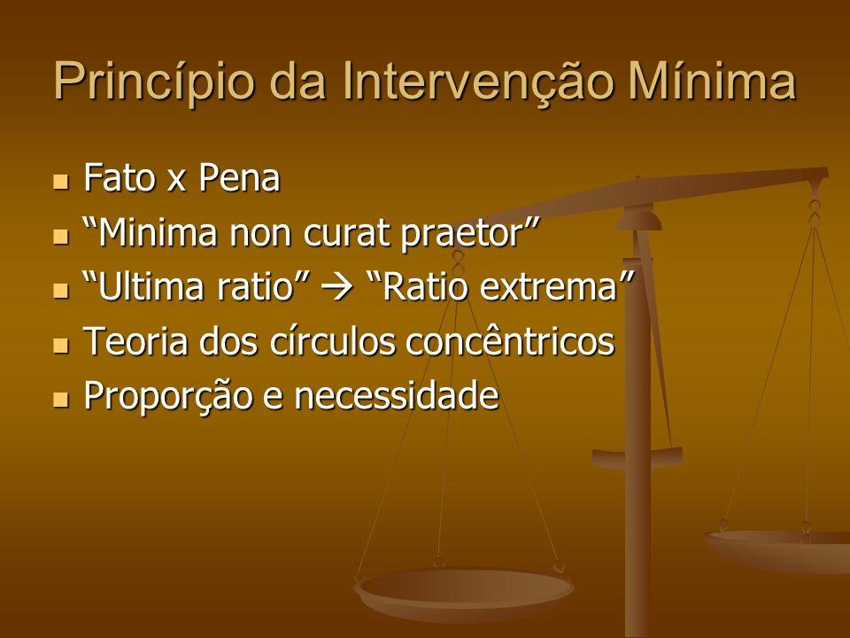 Princípio da Intervenção Mínima Fato x Pena Fato x Pena Minima non curat praetor Minima non curat praetor Ultima ratio Ratio extrema Ultima ratio Rati