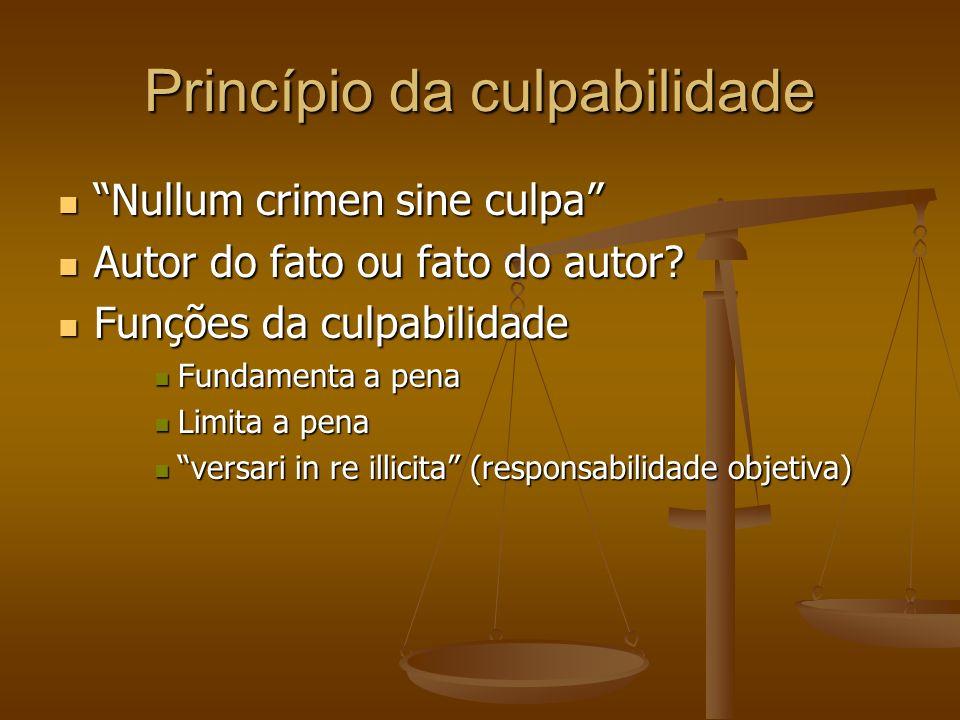 Princípio da culpabilidade Nullum crimen sine culpa Nullum crimen sine culpa Autor do fato ou fato do autor? Autor do fato ou fato do autor? Funções d