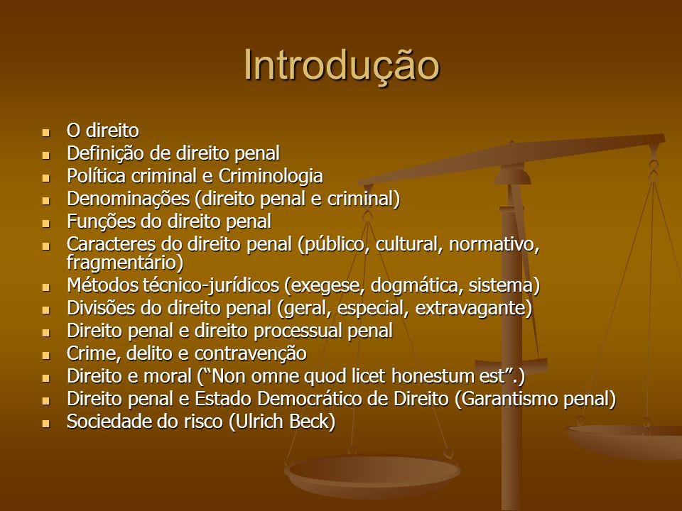 Introdução O direito O direito Definição de direito penal Definição de direito penal Política criminal e Criminologia Política criminal e Criminologia