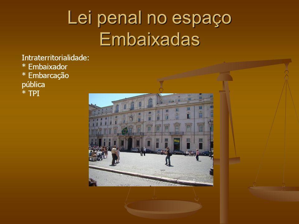 Lei penal no espaço Embaixadas Intraterritorialidade: * Embaixador * Embarcação pública * TPI