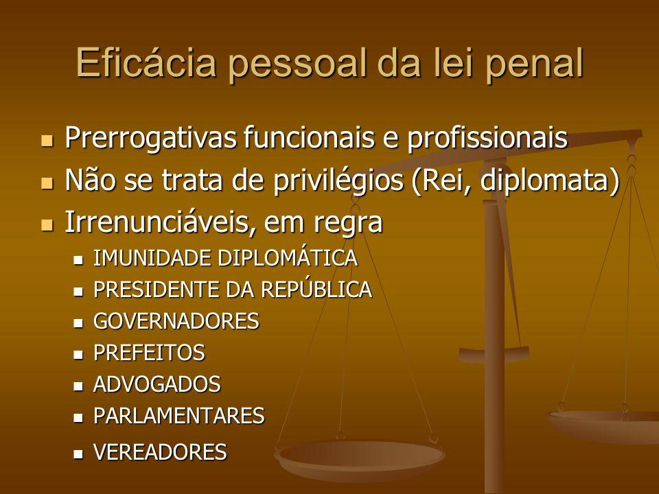 Eficácia pessoal da lei penal Prerrogativas funcionais e profissionais Prerrogativas funcionais e profissionais Não se trata de privilégios (Rei, dipl