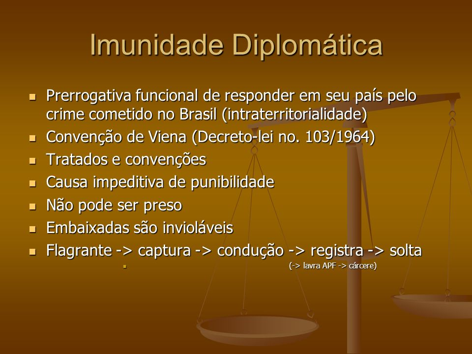Imunidade Diplomática Prerrogativa funcional de responder em seu país pelo crime cometido no Brasil (intraterritorialidade) Prerrogativa funcional de