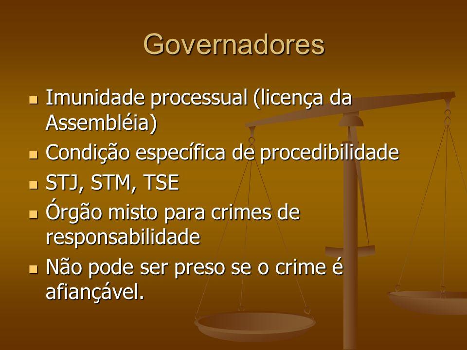 Governadores Imunidade processual (licença da Assembléia) Imunidade processual (licença da Assembléia) Condição específica de procedibilidade Condição