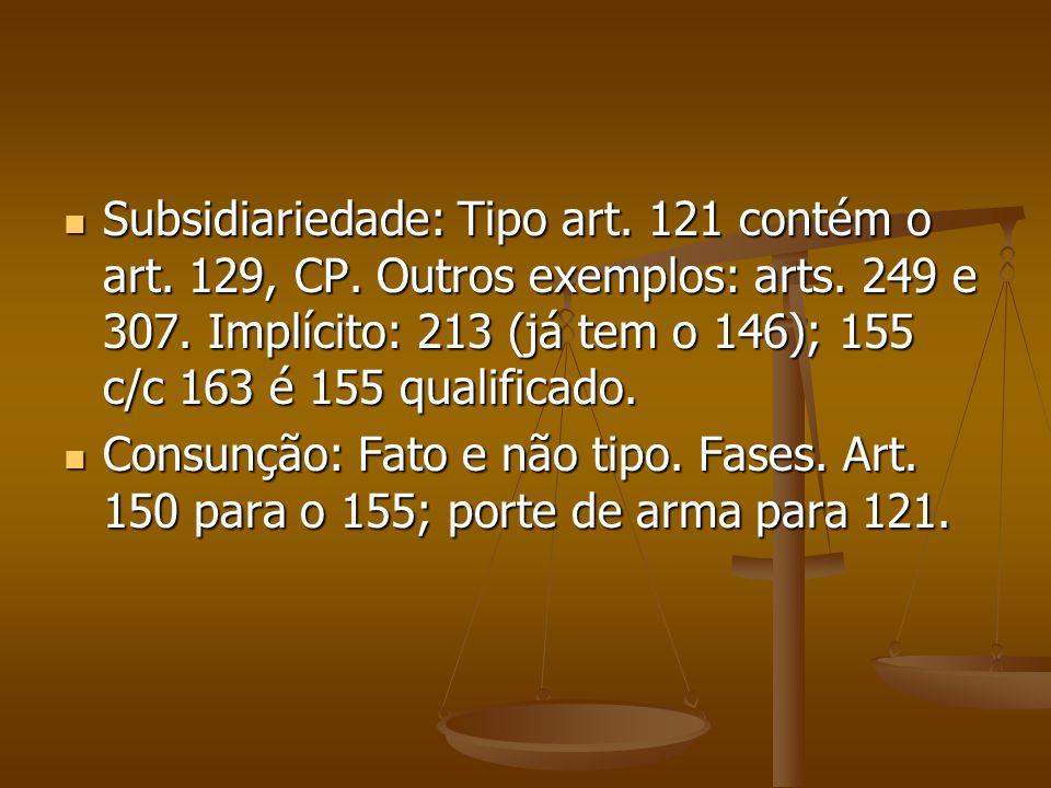 Subsidiariedade: Tipo art. 121 contém o art. 129, CP. Outros exemplos: arts. 249 e 307. Implícito: 213 (já tem o 146); 155 c/c 163 é 155 qualificado.
