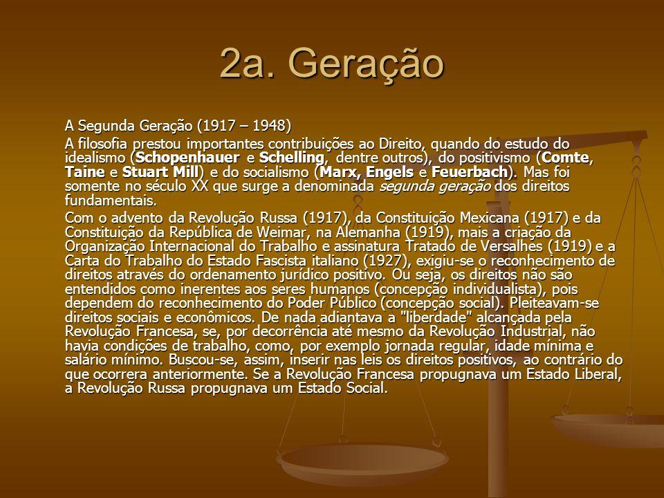 2a. Geração A Segunda Geração (1917 – 1948) A filosofia prestou importantes contribuições ao Direito, quando do estudo do idealismo (Schopenhauer e Sc