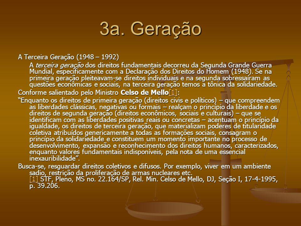 4a.Geração A Quarta Geração (1992) Hoje, já se fala em quarta geração dos direitos fundamentais.