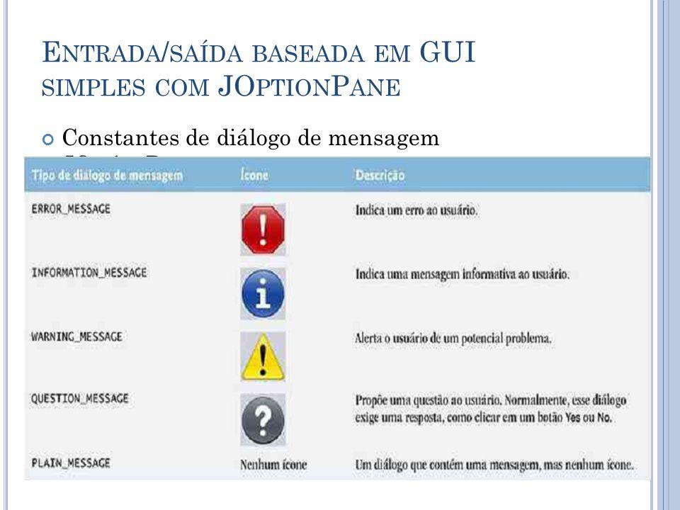 E NTRADA / SAÍDA BASEADA EM GUI SIMPLES COM JO PTION P ANE Constantes de diálogo de mensagem JOptionPane