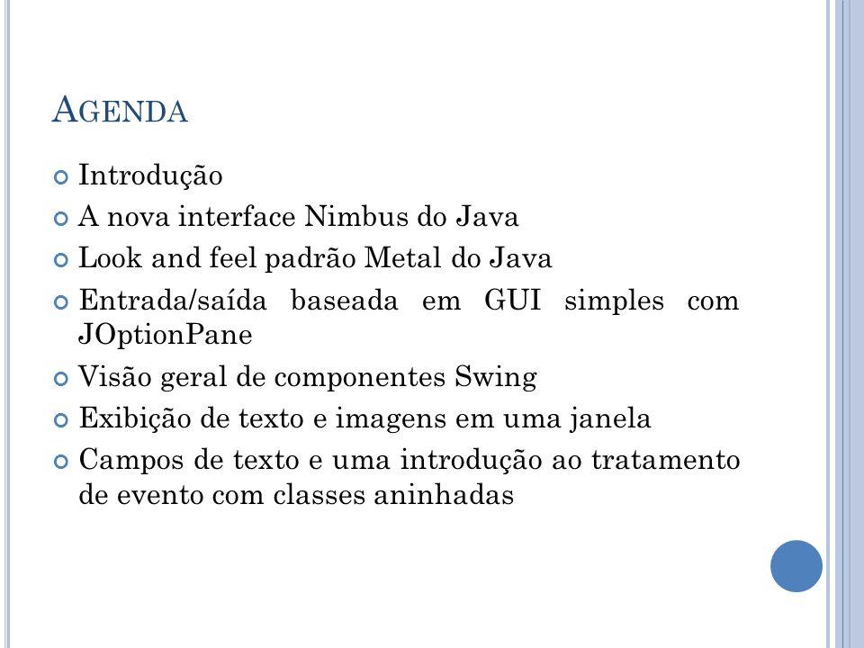 VISÃO GERAL DE COMPONENTES SWING JLabel Exibe texto não editável ou ícones.
